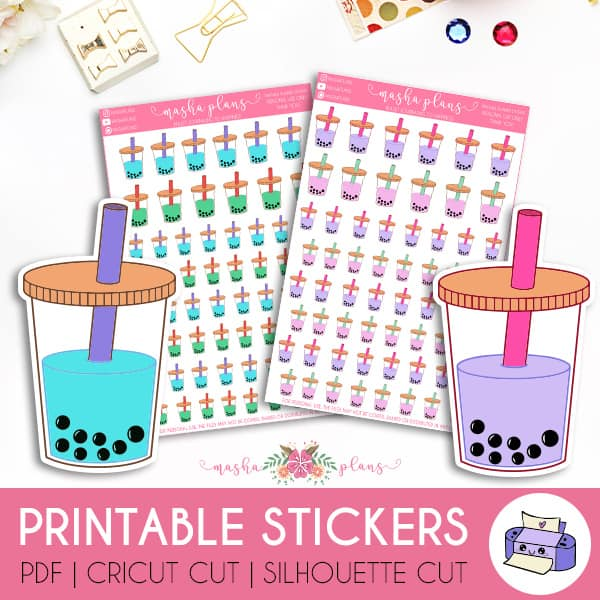 Boba Printable Stickers | Masha Plans