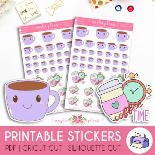 Coffee Time Printable Stickers | Masha Plans