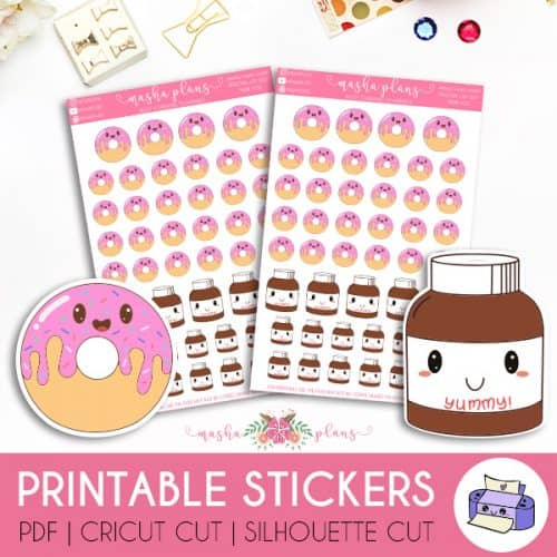 Donut and Nutella Printable Stickers | Masha Plans