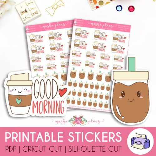 Morning Coffee Printable Stickers | Masha Plans