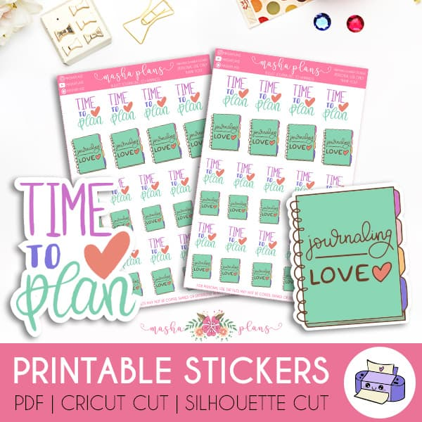 Planner Love Printable Stickers | Masha Plans