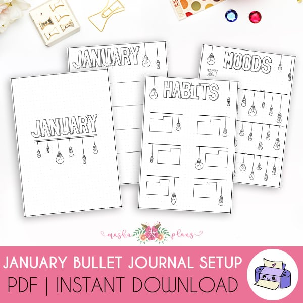 Printable Bullet Journal Setup - January 2021 | Masha Plans