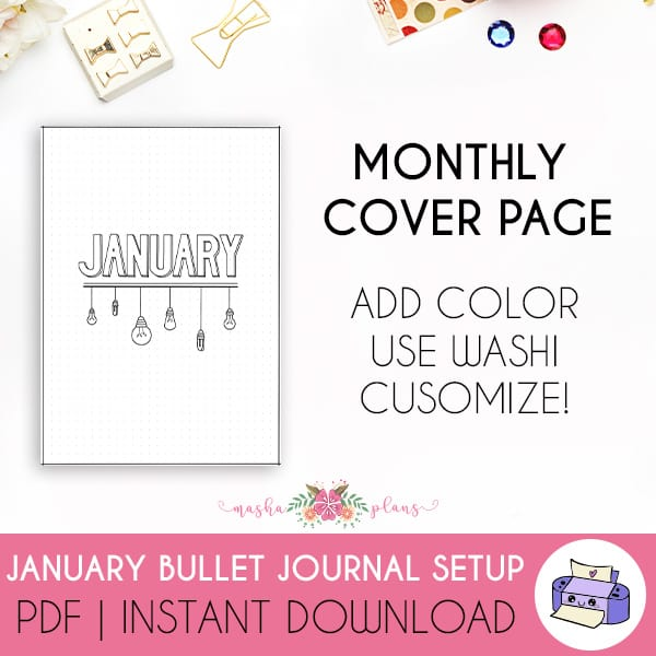 Printable Bullet Journal Setup - January 2021, cover page | Masha Plans