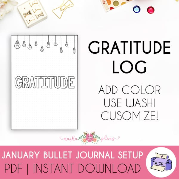 Printable Bullet Journal Setup - January 2021, gratitude log | Masha Plans