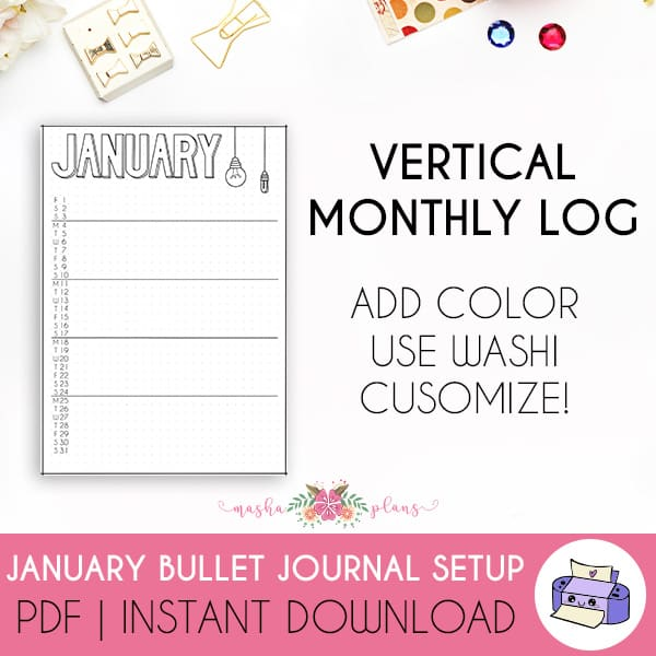Printable Bullet Journal Setup - January 2021, monthly log | Masha Plans