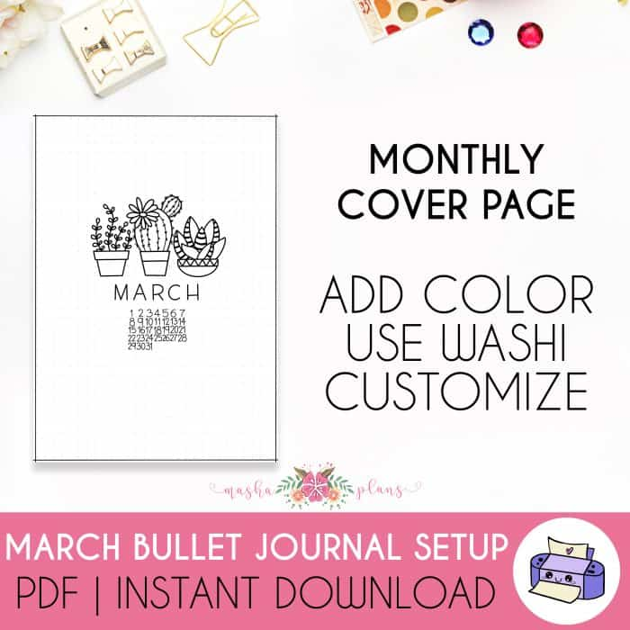 March Printable Bullet Journal Setup, cover page | Masha Plans