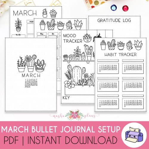March Printable Bullet Journal Setup | Masha Plans