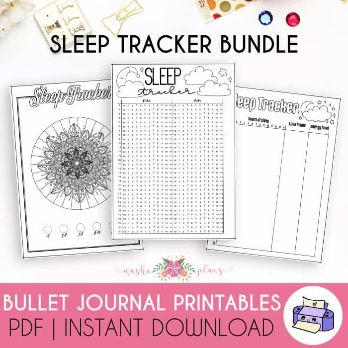Sleep Tracker Bundle (3 Sleep Trackers, 30 and 31 Days) | Masha Plans